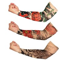 Wholesale uv protection cycling arm warmers resale online - Cycling Sleeve Sports Tattoo UV Block Cool Arm Sleeves Armwarmer Cover Sun Protection Skull Bike Bicycle Arm Warmer