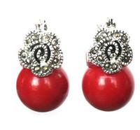 korallen perlen blumen großhandel-heißer Verkauf neu - Dame 12mm rote Koralle Korn Blume Markasit Silber Ohrringe