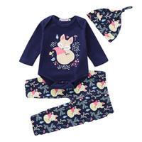 цветочные зимние брюки оптовых-Infant Toddler Baby Boys Girls Floral Cartoon  Romper Pants Hat Outfits Autumn Winter Keep Warm Set Drop Shipping