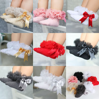Wholesale girls ruffled lace socks for sale - Group buy 0 T Kids Girls bow ruffle Socks Baby Tutu Yarn Lace Bow Socks Infants Children Princess Dancing socks C6116