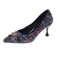 ingrosso nuove scarpe alla moda con tacco alto-New Fashion High Heel Shoes for Women Scarpa elegante stiletto classica per signore Summer Comfy Party Dress Mid Heel Casual Shoe 15936
