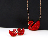 Wholesale swan diamond pendant for sale - Explosion models rose gold black diamonds black swan clavicle necklace clavicle chain titanium steel jewelry love woman hot sale jewelry