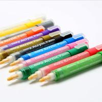 boyalı tuval sanat seti toptan satış-Akrilik Boya Kalemler Kalıcı Boya Kalem Sanat İşaretleyiciler Kağıt Tuval Ahşap Cam taş Seramik Kumaş Boyama için Set Moda DIY El Sanatları LT618