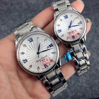 schauen schmetterlingsliebhaber großhandel-Mode uhr frauen / mann uhr mit datum luxus armbanduhr edelstahl armband luxus liebhaber uhren saphirglas schmetterling verschluss