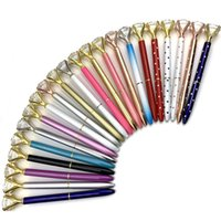 caneta de bola de moda venda por atacado-Caneta Esferográfica Big Gem Ball Pen Kawaii criativo Cristal com grande diamante 21 cores da moda escritório fontes de escola