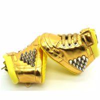 tasarım beşikleri toptan satış-ROMIRUS Yeni Tasarım Marka Yüksek Üst Bebek Erkek Kız Kanatları Beşik Sneakers Ayakkabı Bebek Yürüyor Altın Pu Deri Çizmeler Ayakkabı