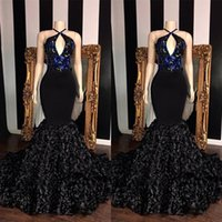 Wholesale yellow flower girl dress strapless for sale - Group buy Long Kehole Neck Mermaid Prom Reflective Dresses V neck Top Sequin Applique Flowers African Girl Black Backless Evening Gowns