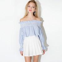 soğuk kız toptan satış-Avrupa Ve Amerika Birleşik Devletleri Soğuk Rüzgar Kız Omuz Straplez Çizgili Bebek Gömlek Uzun Kollu Gömlek