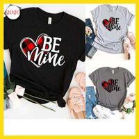 blusas de corazon mujeres al por mayor-3 colores Día de San Valentín camiseta Mujeres carta sea MINA amor del Corazón de impresión de manga corta de la blusa Tops T-Shirt gráficos para el amigo Gril regalo U85FZ