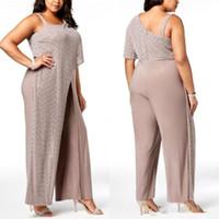 anne gelin artı ebatlı pul toptan satış-Arapça Bir Omuz Sequins dökümlü Tulumlar Abiye 2020 Şifon Uzun Pantolon Artı Gelinlikleri BC0270 Of Boyut Örgün Parti Anne