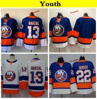 jerseys para niños baratos al por mayor-Jóvenes de los New York Islanders 2019 13 Mathew Barzal Hockey Jerseys Niños Mujeres Equipo local barato Camisas cosidas en azul