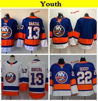 ingrosso jersey hockey giovanile a buon mercato-Youth New York Islanders 2019 13 Mathew Barzal Hockey Maglie Bambini Womens economici Home Team blu cucita camicie