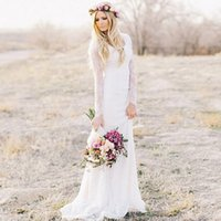 Wholesale chic sheath wedding dresses online - 2019 Bohemian Lace Wedding Dress Sheath V neck Long Sleeves Sweep Train Beach Garden Chic Bridal Dresses For Winter Fall Uk Style
