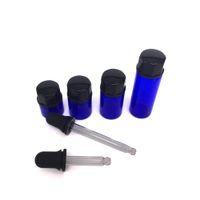 ingrosso bottiglie di vetro blu bottiglie-Crema cosmetica per gli occhi vuota all'ingrosso Essence piccola barattolo di vetro 1ml 2ml 3ml 5ml bottiglia di vetro blu con coperchio nero vetro droper
