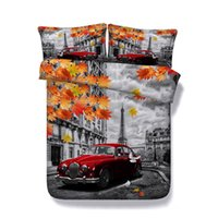 Wholesale 3d bedding sets cars for sale - Group buy 3D Car and Eiffel Tower Print Duvet Cover Set Bedding with pillowcase Microfiber Quilt Cover Zipper Closure