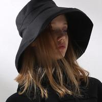 sombrero cubre la cara al por mayor-Sombrero grande Sombrero para el sol Cubierta de verano Cara Cloches Ocio Sombrero de pescador Moda Aliento Cloches Sombrero Algodón Puro Gorras