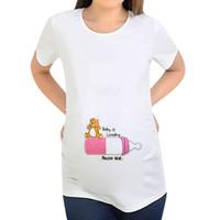 hamile kıyafetler toptan satış-3 desen Annelik T-shirt 2019 Yeni analık giyim Kadın Kısa Kollu Hamile Mektup Baskı Karikatür Baskı Tops