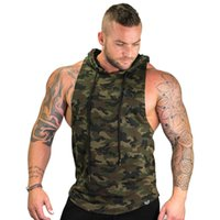 Wholesale sleeveless hoodie army green online – oversize New Men Bodybuilding Tank Tops Gyms Fitness Workout Sleeveless Hoodies Man Casual Camouflage Hooded Vest Male Camo Clothing