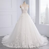 Wholesale wedding dresses flowered covered train resale online - 2019 Elegant A line Wedding Dreess Scoop Neckline Chapel Train Zipper Back Sleeveless Custom Made Plus Size Lace Flower Wedding Gown