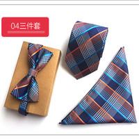 pajarita de punto para hombre al por mayor-8 cm Jacquard Slim Tie Set Corbatas de punto para hombre y pañuelo cuadrado de bolsillo Corbatas de boda para hombre y Conjunto de pajarita con pañuelo