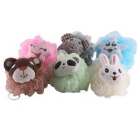 esponja de banho animal venda por atacado-6 PCS Bola de Banho Confortável Bonito Dos Desenhos Animados Animal Malha De Malha Pouf Mesh Esponja Corpo Bola de Limpeza Bola de Chuveiro para Crianças Adultas