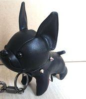 imagem de couro venda por atacado-2019 couro tecido bulldog imagem chaveiro flor velha super fofo bonito cão filhote de cachorro forma acessórios de bagagem pingente