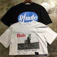 en iyi atlar toptan satış-Kaba T Shirt Yüksek kalite Sevgili Gog en Rhude TopTees Rahat Moda Pamuk Erkek Kadın At baskı Siyah Beyaz Kaba Tişört