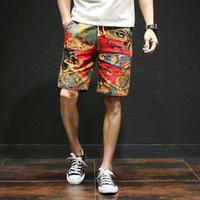 ropa de algodón japonés al por mayor-Japonés Pantalones cortos ocasionales de los hombres con cordón impreso Streetwear Pantalones cortos para hombre Verano de los hombres Pantalones cortos de algodón ropa de lino M-5XL