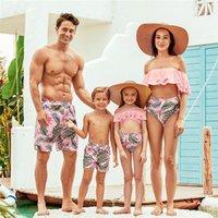 Wholesale girls cotton swimwear resale online - 2020 New Summer Flounce Plant Print Matching Family Swimsuits Swimwear Family Look for Women Girls Men Boys