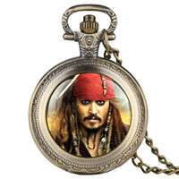 Wholesale captain watches for sale - Group buy Captain Jack Pattern Pocket Watch Men Necklace Fob Watches for Kid Children Boys Clock Gifts