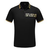 polo tişört baskısı toptan satış-Erkek Lüks Polo Gömlek 2 Renkler Kısa Kollu Baskılı Yaz Tişörtlü M-XXXL Turn Down Yaka Tasarımcı Tops