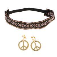 ingrosso fasce di pace-Hippie fascia oro pace segno orecchini Kit donne ragazze costume da props