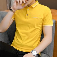 polo amarillo delgado al por mayor-Yellow Spot 95 Cotton 2019 Camiseta para hombre de manga corta con solapa Slim Simple estilo británico Polo Polo 3512 #