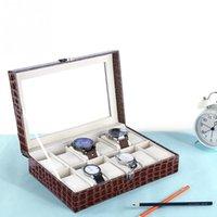 uhrenvitrine ansehen 12 slots großhandel-12 Slots Grid PU Leder Uhr Display Box Schmuck Aufbewahrungsbox Organizer Fall Locked Boxen saat kutusu caixa para relogio