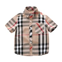 príncipe ropa al por mayor-2019 príncipe camiseta 1-7T niños niño ropa de verano de manga corta a cuadros de algodón suave niños niño camisas de solapa niño camiseta