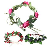 analık baş bantları toptan satış-Çiçek Taç Anti-alerji Ayarlanabilir Boyutu kadınlar kız düğün top parti festivali için kafa bantları analık resim Çelenk saç Çelenk 5 tarzı