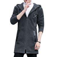ingrosso cappotti di lana coreani di mens-Lungo cappotto invernale uomo lana spesso vintage Harajuku Mens cappotto di lana con cappuccio coreano Duffle Plus Size Casaco Masculino Cappotti 6N06