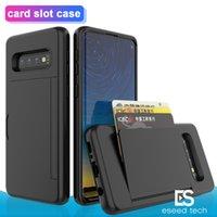 kartları takın toptan satış-Samsung S10 NOT 10 PLUS Vaka Darbeye Yan Kredi Kart Yuvası Sabit PC Case Arka Kapak Protactor için iphone 11 pro x xr xs max için