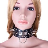 kadın seks köle oyuncakları toptan satış-Kadınlar Için deri Köle Yaka Kadın Metal Perçin Yaka Kolye Fetiş Kölelik Sınırlamalar Erotik Oyuncaklar Yetişkin Çiftler Seks Oyunları XQ0094