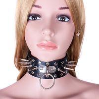 erwachsene weibliche sklavenspielzeug großhandel-Leder Sklavenkragen Für Frauen Weibliche Metall Niet Kragen Halskette Fetisch Bondage Fesseln Erotische Spielzeug Erwachsene Paare Sex Spiele XQ0094