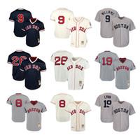 camiseta de béisbol 26 al por mayor-Boston Hombres mujeres jóvenes niños punto Jersey Red Sox 9 Ted Williams 26 Wade Boggs 8 Carl Yastrzemski 19 Fred Lynn Throwback Jerseys de béisbol