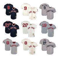 бейсбол 26 джерси оптовых-Бостон Мужские женские молодежные детские трикотажные майки Red Sox 9 Тед Уильямс 26 Уэйд Боггс 8 Карл Ястржемски 19 Фред Линн Трэбэк Бейсбол Трикотажные изделия