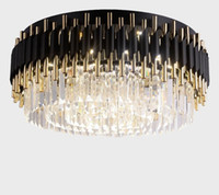 deckenleuchte wohnzimmer groihandel-Luxus-Schwarz-Leuchter-hängende Lampen-Leuchten für Decken Luxuxwohnzimmer-helle Befestigungs-Runde Moderne LED Lustres De Cristal LLFA