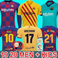 Wholesale FC BARCELONA soccer jerseys camisetas de futbol ANSU FATI Messi GRIEZMANN DE JONG Maillots de football shirt men kids kit