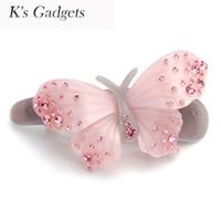 ingrosso gadget per ragazze-K'S Gadgets Pink Butterfly Acetato Hair Clip Rhinestone Hair Accessori per ragazza coreana Barrette Monili di modo delle donne