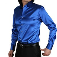 fa070745e60 -Mens Fashion silk Designer shining loose Dress man Shirts Tops Western  Casual 20 color M - XXXL