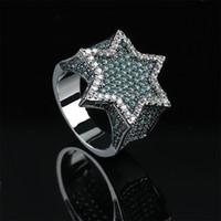 gümüş hexagram toptan satış-Nane Yeşil Kübik Zirkonya Bling Buz Out Yahudi David Yıldızı Heksagram Yüzükler Erkekler için Hip Hop Rapçi Takı Altın gümüş
