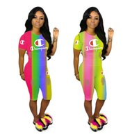 Wholesale clothing sets for women for sale - Group buy Champion Brand Women Tracksuit Summer Designer Two Piece Set Rainbow Gradient Color T shirt Shorts Outfit For Woman Clothing sale C52301