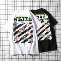 raya blanca de polo al por mayor-Moda de verano Individual 100% Algodón Polo Rayas blancas negras estampadas BLANCO Camisetas con manga corta Camisetas de manga corta