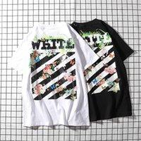 polo weißer streifen großhandel-Summer Fashion Individual 100% Baumwolle Polo Gemusterte schwarz-weiße Streifen WEISS Letter Printing Tees Kurzarm T-Shirts